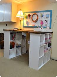 This would be good for a cutting table and storage area in a sewing room.