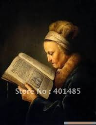 100 handcraftsart oil painting old lady reading book by gerard dou 24x20