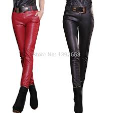 free new 2016 ing good quality fashion high waist pants black red leather pants women