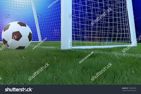 grass soccer field with goal. Football Black And White Color On Grass Soccer Field Near Goal Line With Blurred Blue Gradient E