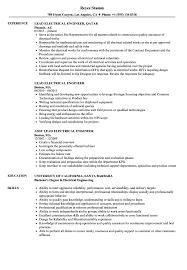 Electrical Estimator Resumes Lead Electrical Engineer Resume Samples Velvet Jobs