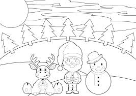 Santa Coloring Pages With Reindeer And Reindeer Coloring Pages