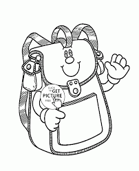 Small Picture School Bag Smiling coloring page for kids back to school coloring