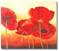 dancing red poppy poppies flower painting on canvas