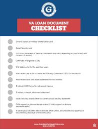 Va Loan Document Checklist Guardian Mortgage Company