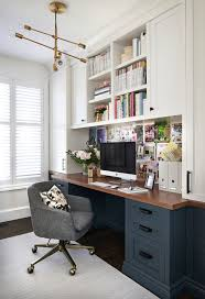 Move the built-ins to the right side and leave both the left and middle  tops for working space, this is beautiful, functional, and HAS DESK SPACE -