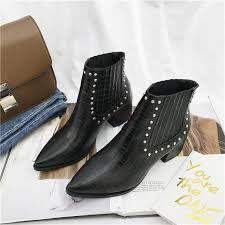 best ing new fashion martin boots las casual leather high heel boots pointed rivet women s ankle