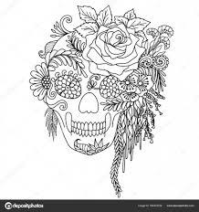 Motief Van De Kunst Van De Lijnen Van Bloemen Met Menselijke Schedel