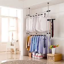 Heavy Duty Coat Rack With Shelf Flexi Garment Rack DIY Coat Hanger Clothes Wardrobe Double Pole Hook 61