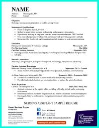 Certified Nursingnt Resume Objective Examples Summary Example