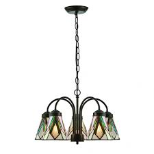 astoria art deco 5 arm ceiling light with down facing tiffany glass shades