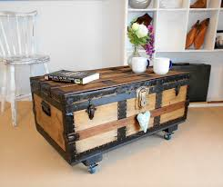 vintage steamer trunk red pine chest wooden coffee table