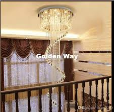 new arrival modern led k9 crystal chandelier suspension crystal rotate villa stairs pendant lighting dining room lamp droplight dining room chandeliers