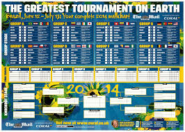 Vola Lon Full World Cup Schedule Wall Chart For 2014 World