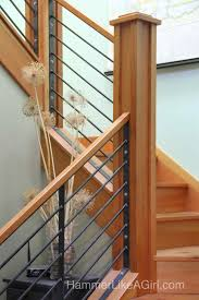 Craftsman Staircase stair railing design custom stair railing metal and wood 6658 by xevi.us