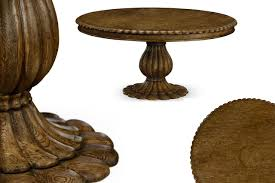round solid oak designer pedestal table country casual tropical