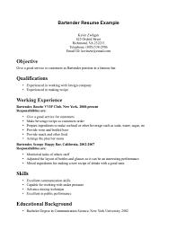 Bartender Job Description Resume Job And Resume Template