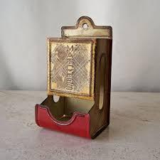 vintage match box holder tin match box holder mid century match box holder