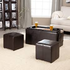 simpli home avalon coffee table storage ottoman with 4 serving trays com