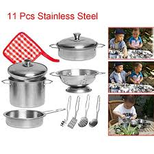 hp95 kids play kitchen accessories sets 11 pieces stainless steel kids pots and pans set