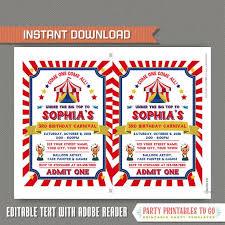 Carnival Birthday Invitations Circus Invitations Carnival Birthday Invitations Carnival Party Circus Party Invitations Instant Download Edit And Print At Home