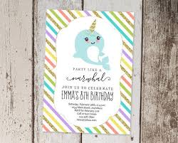 1st Birthday Party Invitation Template Printable Narwhal Invitation Template Girls Birthday Party