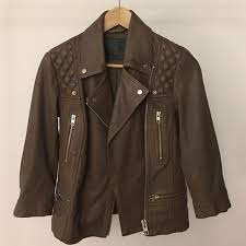new all saints leather jacket cropped sleeves 4