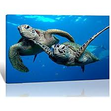 purple verbena art 1 panel two submarine turtles under the sea pictures prints on canvas walls paintings modern seaview animal giclee wall artwork for home  on sea turtle canvas wall art with amazon hello artwork 3 pieces turtle landscape canvas wall
