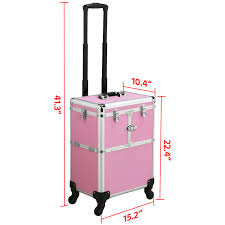 topeakmart pro aluminum rolling cosmetic makeup train cases 2 wheel trolley organizer box professional artist train case pink walmart