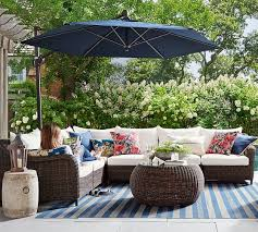 torrey all weather wicker roll arm outdoor sectional components espresso pottery barn