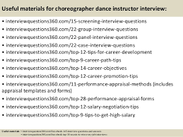 top  choreographer dance instructor interview questions and answers       useful materials for choreographer dance instructor