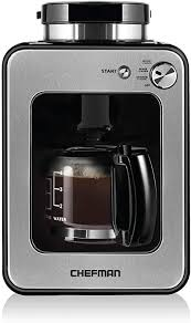 If you want to take a first step into a better burr grinder, chefman will not disappoint you, especially for its price. Amazon Com Chefman Grind And Brew 4 Cup Coffee Maker And Grinder Compatible W Fresh Beans And Grounds Adjustable Strength Settings Washable Coffee Filter Scoop Included Compact Black Stainless Steel Kitchen Dining