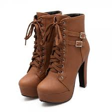 tan short boots vegan leather lace up platform chunky heel ankle boots image 1