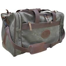 front top hand grips side pouch leather logo strap duffle bag waxed canvas