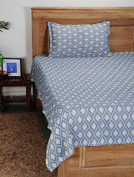 blue white handwoven cotton single bed cover with pillow cover set of 2