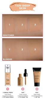 Maybelline Skin Tone Chart Shade Matcher Foundation Swatches For Loreal Paris