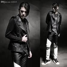 fall punk rock style men s leather vest rivet fashion faux leather sleeveless vest jacket winter men leather waistcoat outdoor q218 uk 2019 from tt2016