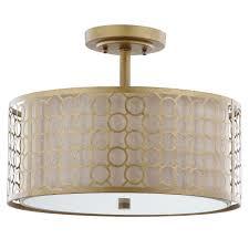 giotta 3 light antique gold semi flush mount light