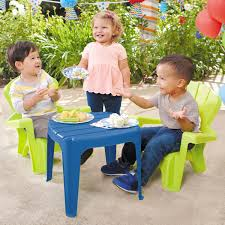 garden table chairs blue green