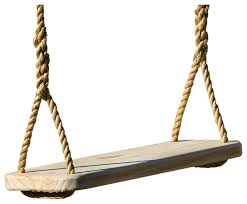 premier wood tree swing with rope