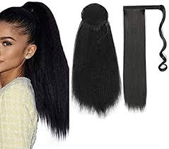 2Pack Kinky <b>Curly Straight Ponytail Hairpiece</b> Wrap Around Ponytail ...