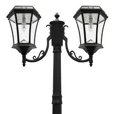 gama sonic victorian bulb series 2 head black solar lamp post with gs solar led