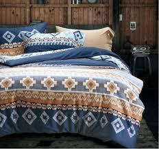 bohemian duvet cover striped ethnic boho reversible southwestern 400tc cotton bedding 3pc set navy white orange