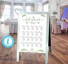 Irish Wedding Seating Chart Easy To Customize Poster Seating Plan Template In 24x36 18x24 Move All The Shamrocks Around