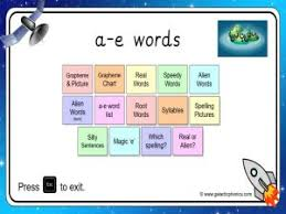Large flashcards for introduction and supporting materials for your phonics curriculum. Ae Split Digraph Worksheets And Games Galactic Phonics