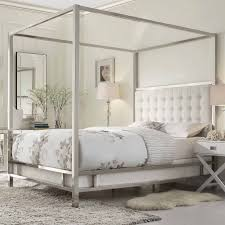 Silver Steel Canopy Bed With White Leather Puffed Head Board Frame ...