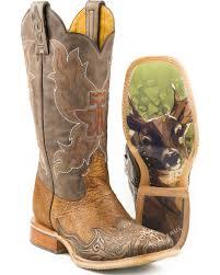 zoomed image tin haul men s deerstalker big buck sole cowboy boots square toe brown hi
