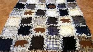 LAKESIDE BEARS RAG QUILT KIT - 72 PRE-FRINGED Squares + Precut ... & Does not apply Adamdwight.com