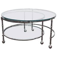 midcentury three tier round chrome coffee table in the style of milo baughman for