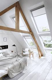Bedroom Designs: Orange Attic Bedroom Blue Artwork Built In Storage -  Exposed Beams